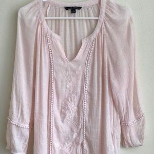 Zac & Rachel Soft Pink Boho Blouse Large